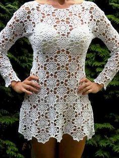Vestido de crochê túnica feita por encomenda handmade crochet por dosiak