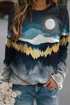 Literary Nature Landscape Night Sky Moon Star Forest Gradient Print Raglan Sleeves T-shirt Hoodie Sweatshirts, Pullover Hoodie, Sweatshirts Online, Printed Sweatshirts, Hoodies, Sweat Shirt, A 17, Black N Yellow, Shirt Blouses