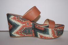 Theodora & Callum Women's Size 8 Platform Wedge Sandals Southwestern Linen #TheodoraCallum #PlatformsWedges #Casual