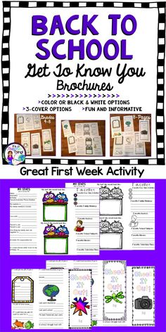Back to School Brochure activity is perfect to use the first week of school.  Learn about your students from their responses to the questions and prompts within the brochure.  Gather key information to gain insight about the students in your classroom.  Simple and easy to use, the Back to School Brochures make great displays for Parent Night.  Includes the following: *3- cover options *Color and black line versions *5-panels *Copying instructions