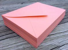 50 A7 5x7 or 4Bar 3.5x5 Coral Peach Envelopes  A7 by SEEDInvites