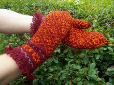 hand knitted bordo orange wool mittens for by peonijahandmadeshop, $44.50
