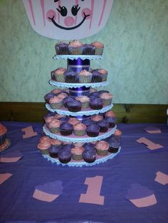 Girl 1st birthday Cupcake theme, party cupcake tower decor table
