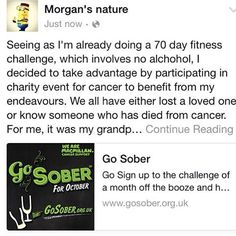 """I lost my #grandparents to #cancer so as I'm on a #noalchol #70dayfitnesschallenge I decided to dedicate #october to #supportthecause  5% of all aloe product sales will be donated to the cause. To shop, visit http://www.morgansnature.flp.com #supportcancer #noalcoholforme  #letsdothis #morgansnature #togetherwecan"" Photo taken by @natashajmorgan on Instagram, pinned via the InstaPin iOS App! http://www.instapinapp.com (09/29/2015)"