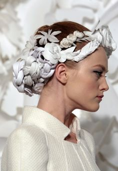 Vlada at Chanel Spring 2009 Haute Couture. The Headdresses were made of paper.
