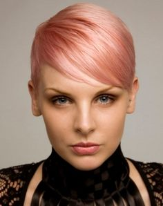Short Pink Pixie Haircut 2014