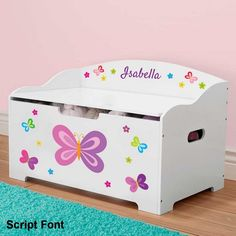 Personalized Dibsies Modern Expressions Butterflies and Flowers Toy Box, Pink Pink Toy Box, Girls Toy Box, Personalised Toy Box, Personalized Baby Gifts, Kids Storage, Toy Storage, Storage Ideas, Box Bedroom, Small Bedroom Storage