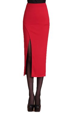 """MelBedy Women Elastic Elegant Wear to Work Split Bodycon Pencil Midi Skirt Red XXL. Bodycon High Split Style. Note: Please ignore the Amazon's """"Size Chart"""" and choose your size according to our left size chart image.Please check our size chart carefully,and allow 1-3cm differs due to manual measurement Thanks. Material:Polyester+Spandex. Elastic Waist Band. """"MelBedy"""" Trademark is registered on Amazon.Some sellers list their mimic product in our listing. Their quality,color,material and…"""
