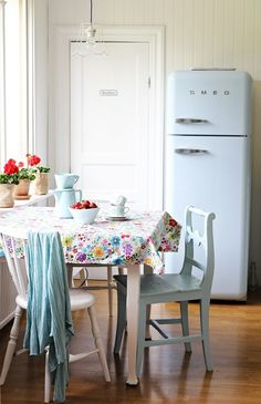 Smeg refrigerator, love the pendent!!! and colors.