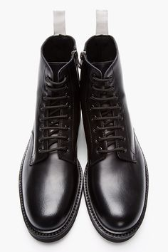 COMMON PROJECTS Black Leather Lace-Up Combat Boots