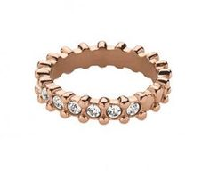 DYRBERG KERN GAFA Feminine rose gold plated stainless steel band ring made with SWAROVSKI ELEMENTS. Perfect to combine with more 'Gafa' rings.