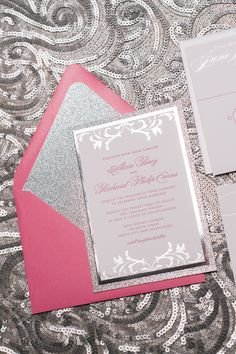 Real Wedding: Alicia and Richard | Hot Pink and Silver Foil Stamped Letterpress Wedding Invitations | Hot pink, silver, silver glitter, silver foil, silver foil stamping, glitter, hot pink and silver, wedding invitations, letterpress, foil and letterpress, foil details, calligraphy, calligraphy wedding invitations