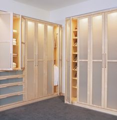 Put a modern spin on your closet space with light wood and frosted windows.