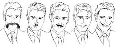 Men with different types of moustache - illustration by Emma Lynch