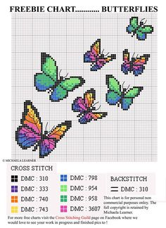 Embroidery Stitches Gorgeous Butterfly Cross-Stitch Chart - I don't usually share cross stitch charts from Russian or Eastern European websites, because I'm pretty sure they are all copyright violations, but at least this one has some kind of cr… Counted Cross Stitch Patterns, Cross Stitch Designs, Cross Stitch Embroidery, Embroidery Patterns, Free Cross Stitch Charts, Hand Embroidery, Cross Stitch Bookmarks, Butterfly Cross Stitch, Cross Stitch Flowers