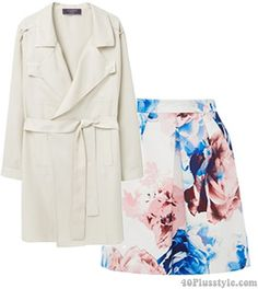 Trench coat with floral skirt | 40plusstyle.com