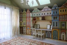 Фото интерьера детской деревянного дома в стиле кантри