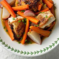 Braised Chicken with Spring Vegetables by Framed Cooks