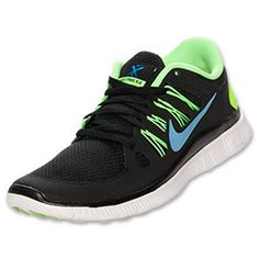 Men's Nike Free 5.0 Running Shoes | FinishLine.com | Black/Blue Hero/Flash Lime