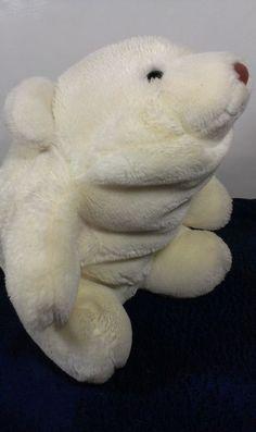 "1980 Gund White Potbelly Polar Bear Korea Snuffles Stuffed Animal Plush Toy 10""  #GUND"