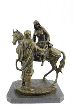 Large Arabian Man Helping His Wife Bas Bronze Sculpture Figurine Statue BZ