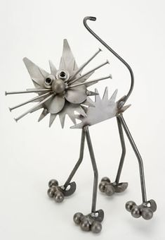 Recycle Metal Art Mini Fluffy Cat Sculpture Available at AllSculptures.com