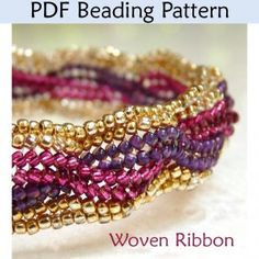 "Herringbone ""Woven Ribbon"" PDF Beading Pattern"