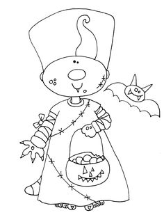 Free Dearie Dolls Digi Stamps: Ready to get a head start on Halloween? Embroidery Works, Embroidery Motifs, Halloween Rocks, Halloween Cards, Free Coloring, Coloring Books, Coloring Sheets, Moldes Halloween, Painting Templates