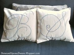 Hand-Embroidered Monogram Pillows