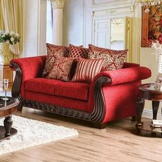 "Corinna Collection SM6209-LV 74"" Love Seat with Chenille Fabric Intricate Wood Trim Loose Back Pillows and Rolled Arms in Ruby Red"