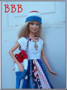 Barbie Clothes OOAK Patriotic Dress Fourth of July American Strip Dress Red White and Blue Fashion Doll Cloche Hat Tote Bag Necklace