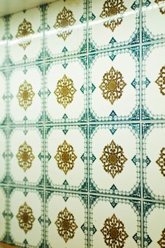 100 year old kitchen tiles that were moved from another apartment. Current location: 85 Király utca 1/2, 1077 Budapest.