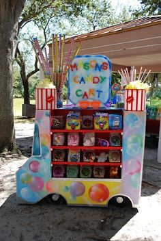 Circus party candy cart
