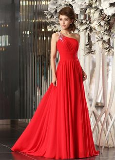 Stunning One Shoulder Pleated Chiffon Dress With Beading