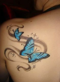 Blue Butterfly With Star On Shoulder