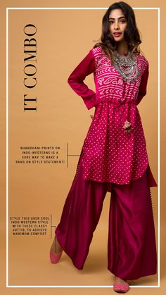 Burnt pink palazzo suit in satin silk. Paired with a kurta in habutai silk with printed tribal pattern. Designed with full sleeves and tie up at the waist. Slight variation in color is possible due to digital photography. Being rewarded as the most trusted brand our customers too believe we deliver same styles as promised on the website. Ethnic Fashion, Indian Fashion, Trendy Dresses, Fashion Dresses, Kurta Designs, Dress Designs, Boho Outfits, Wedding Outfits, Kurti Sleeves Design
