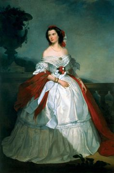 Portrait of Carlota, Viscountess of Meneses by her husband Luis de Miranda Pereira, Viscount of Meneses Victorian Women, Victorian Fashion, Vintage Fashion, Meneses, Royal Clothing, 1800s Clothing, 19th Century Fashion, Woman Painting, Historical Clothing