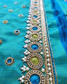 No photo description available. Saree Tassels Designs, Saree Kuchu Designs, Wedding Saree Blouse Designs, Kerala Saree Blouse Designs, Cutwork Blouse Designs, Embroidery Neck Designs, Simple Blouse Designs, Mirror Work Blouse Design, Maggam Work Designs