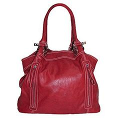 Large Zipper Tote Handbag (Deep Red)