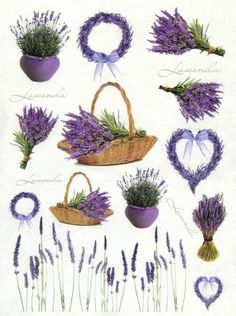 £1.9 GBP - Rice Paper -Lavender In Basket- For Decoupage, Scrapbook Sheet, Craft #ebay #Home & Garden