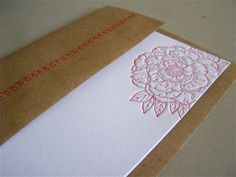 Peony Letterpress card with Sewn Envelope