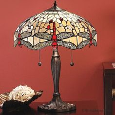Interiors 1900 Beige Dragonfly Large Tiffany Table Lamp