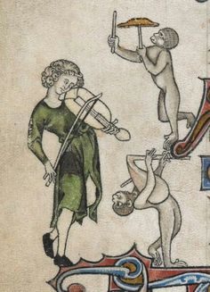VIOLA, GAITA Y PLATILLO PERCUTIDO CON PALO (Trio). Add. 24686, 13/14th c. British Library