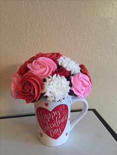 Valentines Day mini cupcake bouquet in a coffee mug