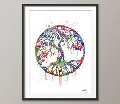 Tree of Life Watercolor Art Print Wall Art Poster by CocoMilla