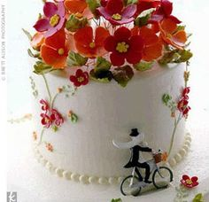 pretty cake --swirly vines with royal icing & fondant flowers for a 3D effect
