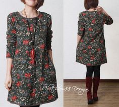 cotton Casual Long sleeved Tshirt Blouse Floral by clothnew88, $49.99