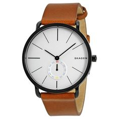 Step up your casual Friday style with this Skagen quartz movement watch. Water resistant up to 50 meters, this watch features a brown leather band with a stainless steel caseback and white dial for a