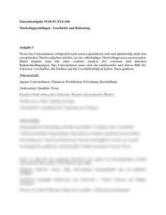 Marketinggrundlagen Geschichte und Bedeutung des Marketings -  Studienleistung Marketing / Marktforschung / Absatzwirtschaft Marketing, Personalized Items, Mathematical Analysis, High School Graduation, Giving Up, Authors, Economics, History