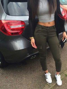 grey top khaki pants crop tops black jacket black bag adidas pants army green…